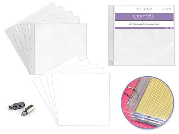 Scrapbook Refills: 12''x12'' Pack 5pages+5shtprot+2extpost