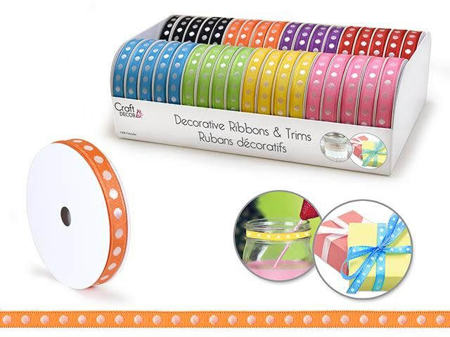 Ribbons & Trims: 3/8'' x 4yd Rolls  Asst - B) Dots Bold