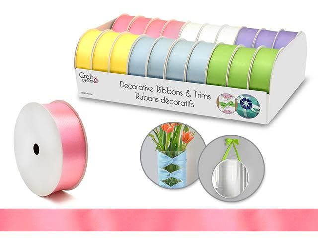 Craft Decor Ribbons & Trims: 1'' x 3yd Rolls  Asst - B) Pastel