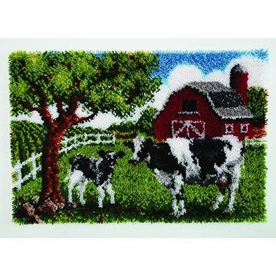 Wonderart Latch Hook Kit 27''x 40'' Contented Cow