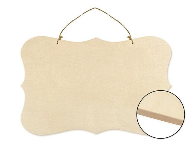 Wood Decor: 15.75'' Paintable Wall Hangers w/Jute Cord - C)  Bracket Border