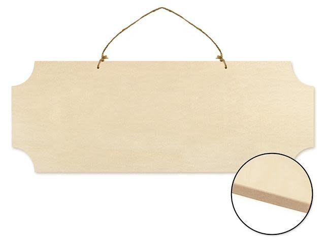 Wood Decor: 15.75'' Paintable Wall Hangers w/Jute Cord - D) Rectangle Cut-Corners