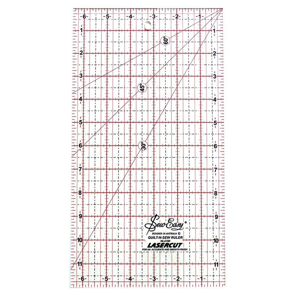 SEW EASY Quilting Ruler - 12'' x 6.5'' (30.5 x 16.5cm)