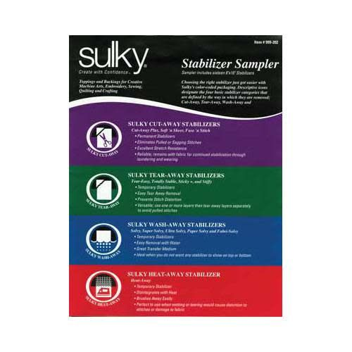 SULKY Stabilizer Sample Pack - 1 - 8'' x 10'' sheet of all 19 types