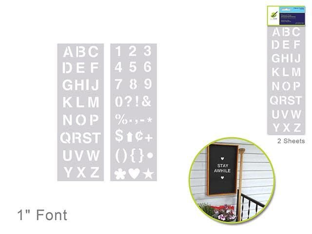 Color Factory: 1'' Alpha/Numeric/Symbol Stencil 2-Sht Set