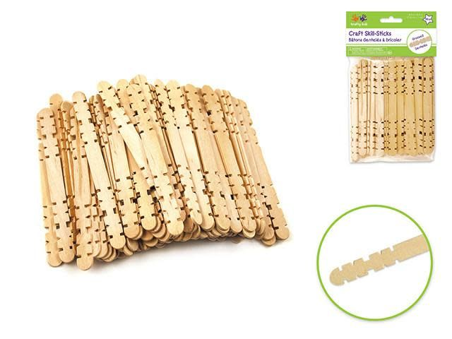 Popsicle Sticks Craftwood: 4.5''x3/8'' Natural Skill Sticks 80/pk
