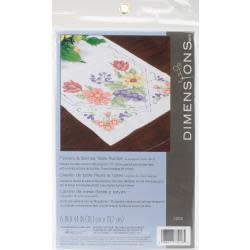 Dimensions Stamped Cross Stitch Table Runner 15''X44'' Flowers & Berries