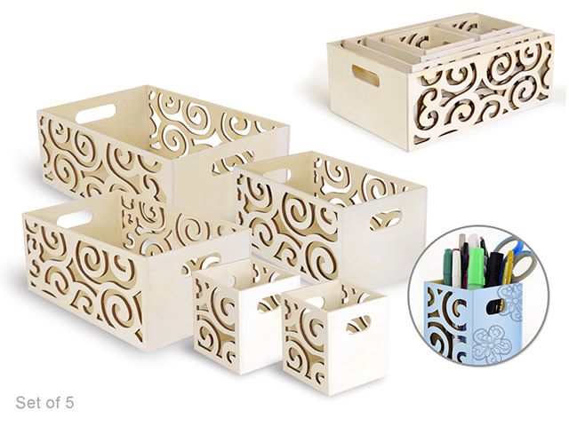 Box Caddy Set Laser-Cut 5/Set w/Handle