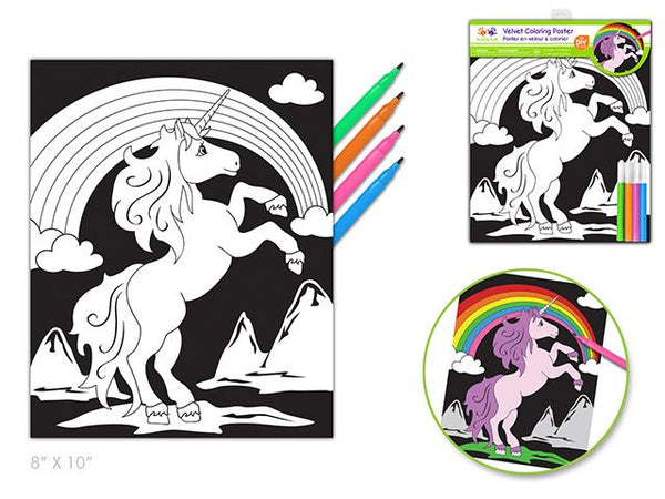 Velvet DIY Coloring Poster w/4markers - Unicorn