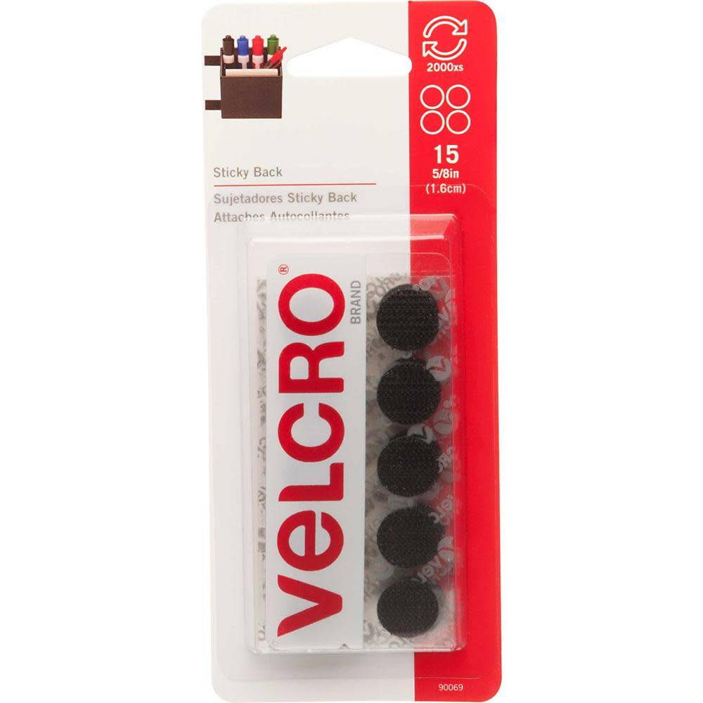 VELCRO Sticky Back Coins Black - 16mm (5/8'') - 15 pcs