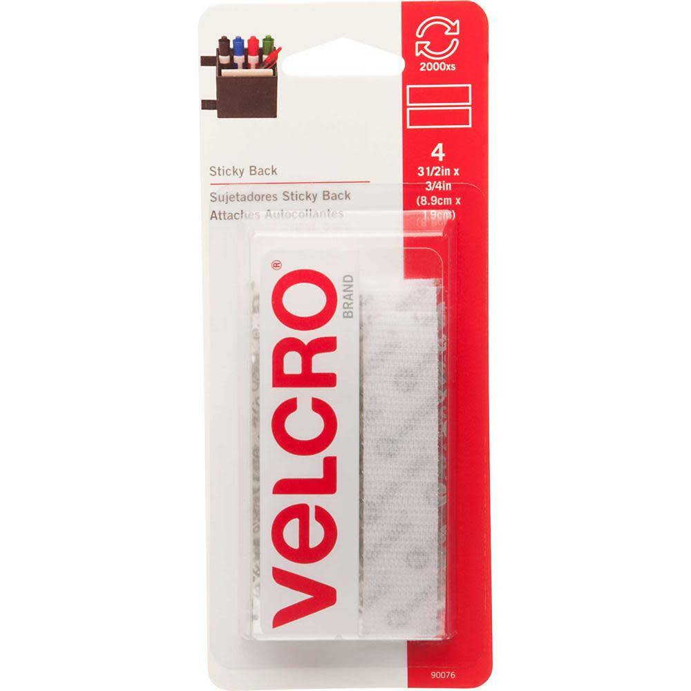 VELCRO Sticky Back Strips White - 19mm x 9cm - 4 pcs.