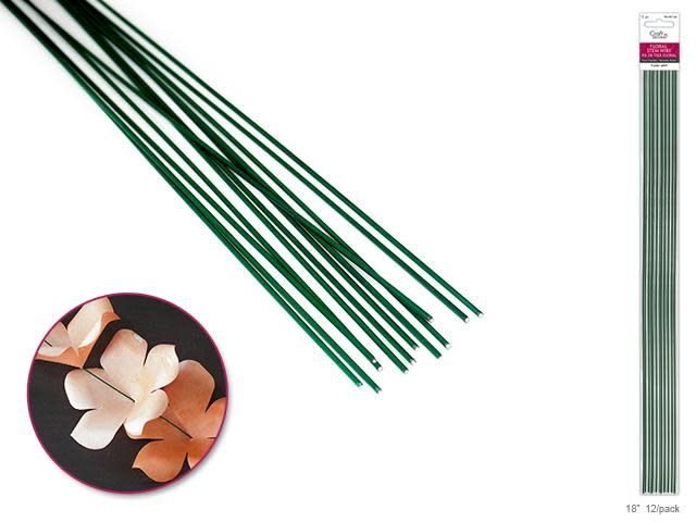 Floral Stem Wire: 16g Green 18'' 12/pk
