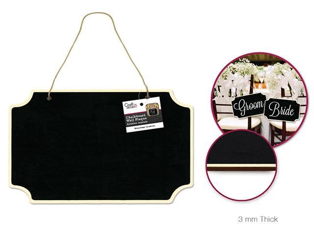 Craft Decor: Chalkboard Wall Plaque w/Jute Cord Hanger - A) Rectangle Cut-Corners