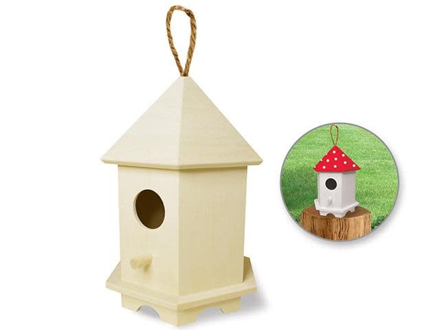 Wood Craft: 6''-6.5'' Birdhouse w/Jute Hanger - C) Gazebo