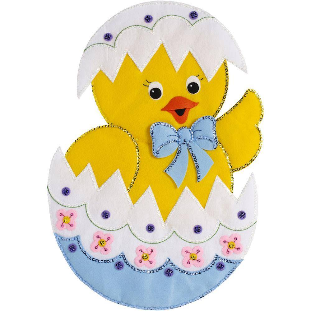 Bucilla Felt Wall Hanging Applique Kit 15''X22'' Easter Chick