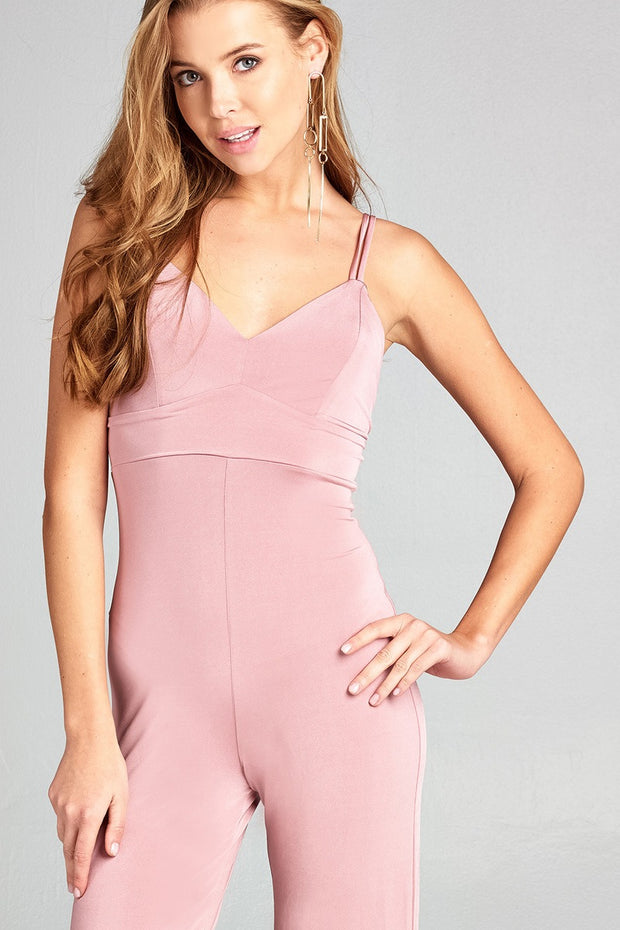 Ladies fashion v-neck w/back cross strap long leg poly spandex knit jumpsuit - Avantchi.com