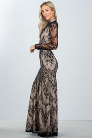 Ladies fashion black lace nude illusion open back maxi dress - Avantchi.com