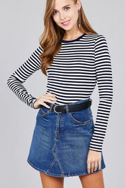 Ladies fashion long sleeve crew neck striped dty brushed top - Avantchi.com