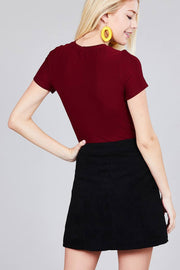 Ladies fashion short sleeve crew neck dty brushed bodysuit - Avantchi.com