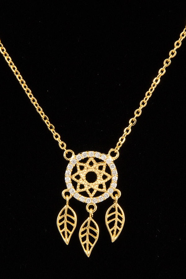 Dream catcher pendant short necklace
