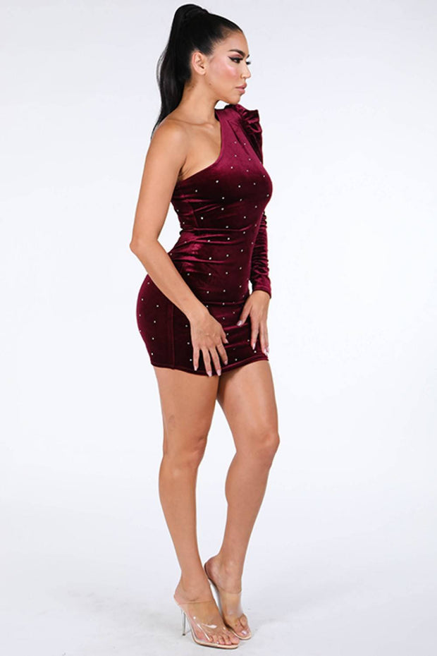 One Shoulder Velvet Dress - Avantchi.com