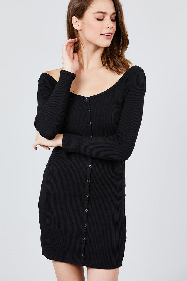 Long Sleeve Off The Shoulder Neckline Front Snap Button Detail Cotton Spandex Heavy Rib Mini Dress - Avantchi.com
