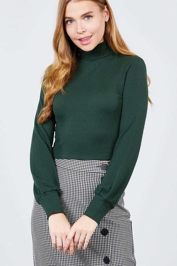 Long Sleeve Turtle Neck Rib Knit Top - Avantchi.com