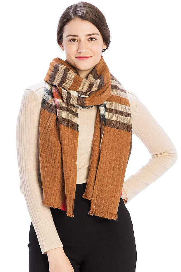 Pleated Plaid Pattern Scarf - Avantchi.com