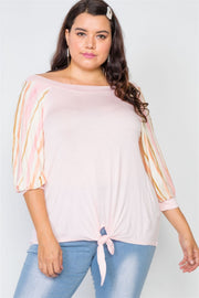 Plus Size Pink Scoop-neck 3/4 Sleeve Top - Avantchi.com