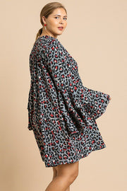 Animal Print Oversize Bell Sleeve V-neck Dress - Avantchi.com