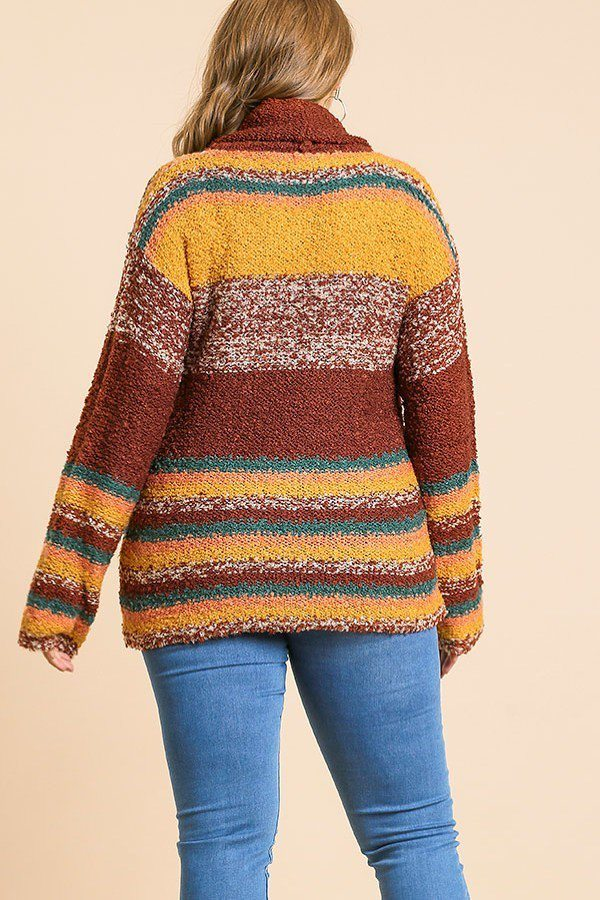 Multicolor Striped Fuzzy Knit Long Sleeve Pullover - Avantchi.com