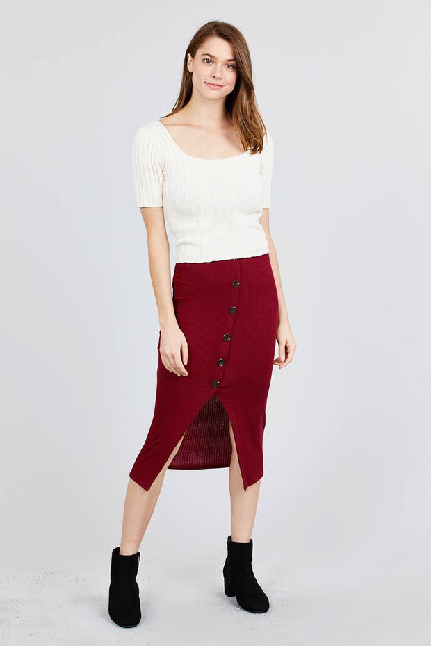 Front Button Detail Rib Midi Skirt - Avantchi.com