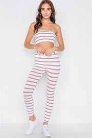 Multi Stripe Ribbed Crop Tube Top & Ankle Legging Set - Avantchi.com
