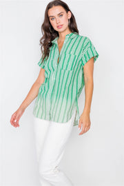 Washed Pinstripe Button Down Top - Avantchi.com