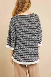 Heathered Striped Knit Bell Sleeve Round Neck Top - Avantchi.com