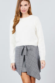 Long Sleeve Round Neck Crop Sweater - Avantchi.com