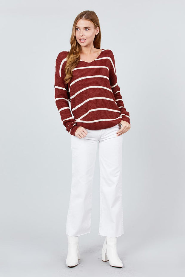 Long Sleeve V-neck Twist Back Stripe Sweater Top - Avantchi.com