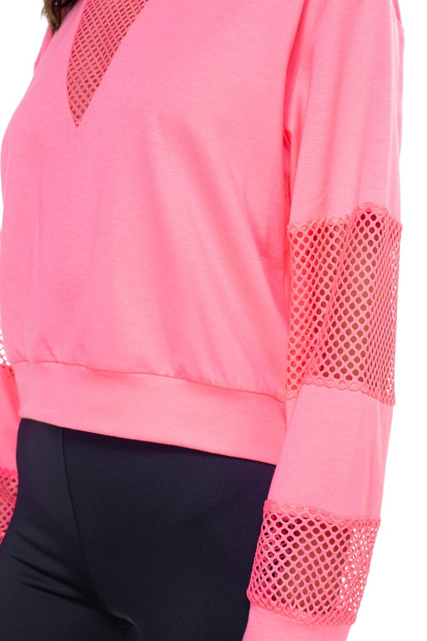 Mesh Long Sleeve Pullover Sweater - Avantchi.com