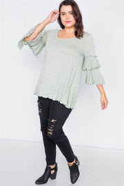Plus Size Tiered Ruffle Bell Sleeve Scoop Neck Top - Avantchi.com