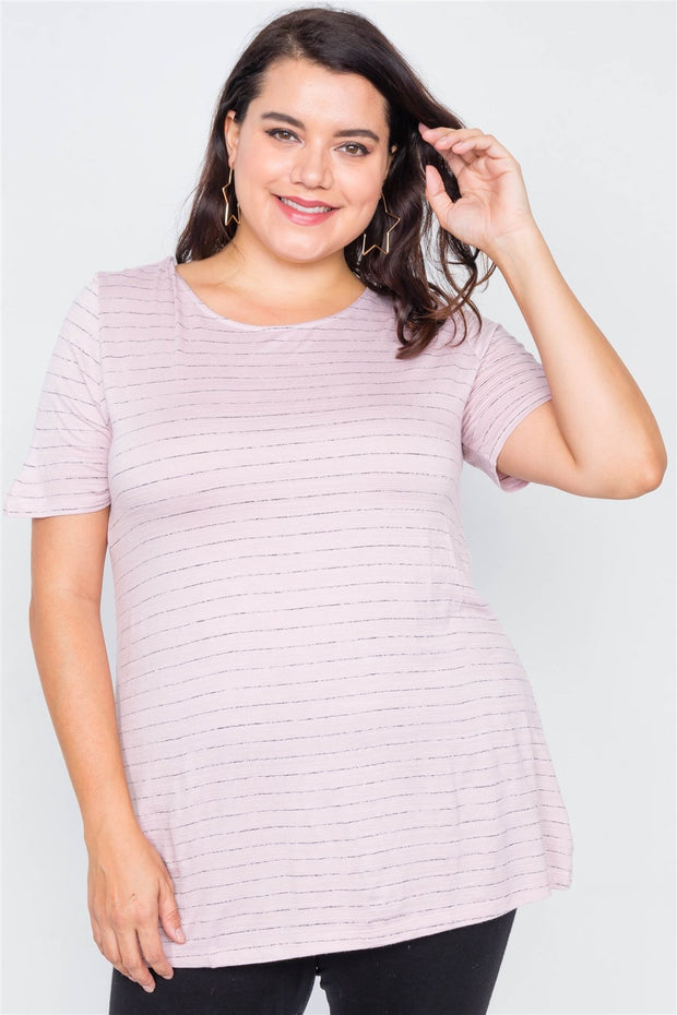 Plus Size Cut Out Back Bow Short Sleeve Top - Avantchi.com