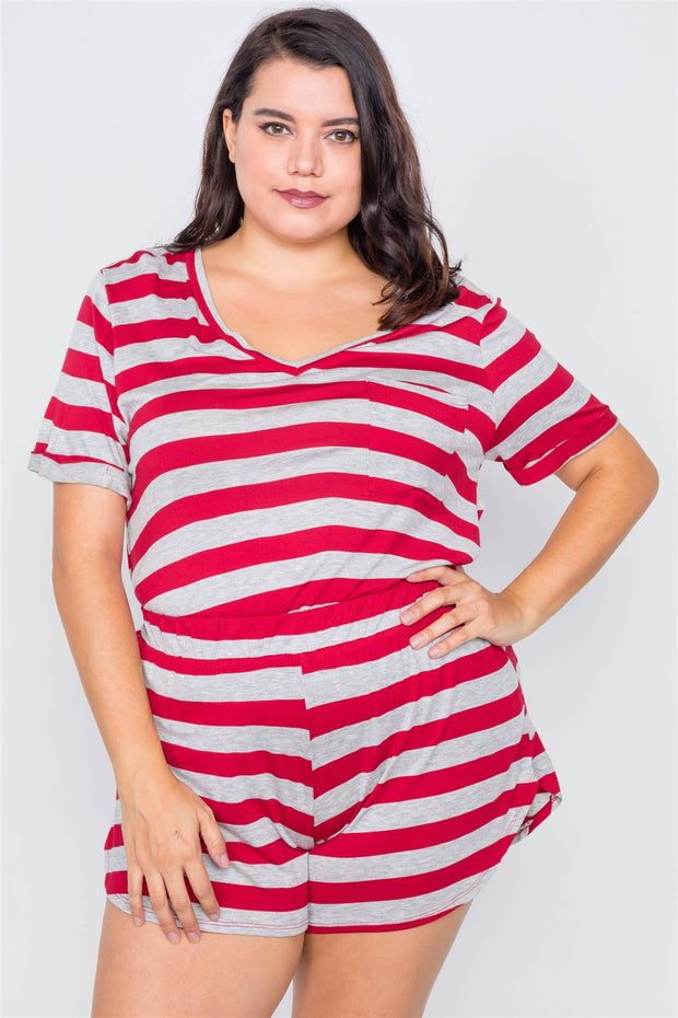 Plus Size Rolled Short Sleeve Stripe Comfy Short Set - Avantchi.com