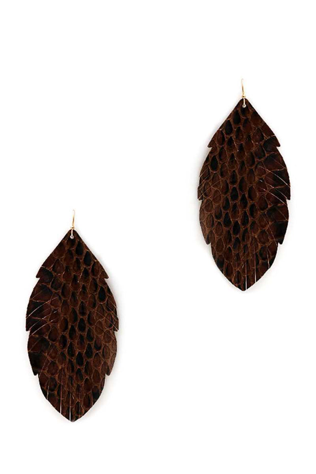 Trendy Genuine Leather Animal Skin Textured Leaf Drop Earring - Avantchi.com