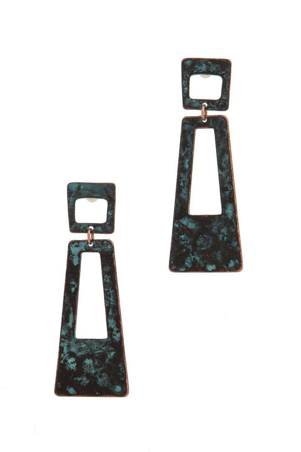 Cut Out Rectangular Shape Post Earring - Avantchi.com