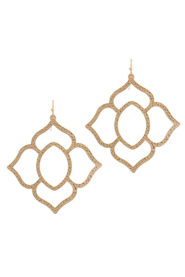Hammered Pointed Moroccan Shape Drop Earring - Avantchi.com