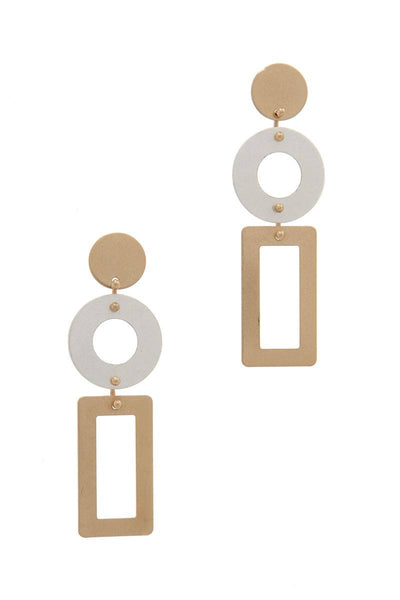 Cut Out Rectangular Shape Post Drop Earring - Avantchi.com