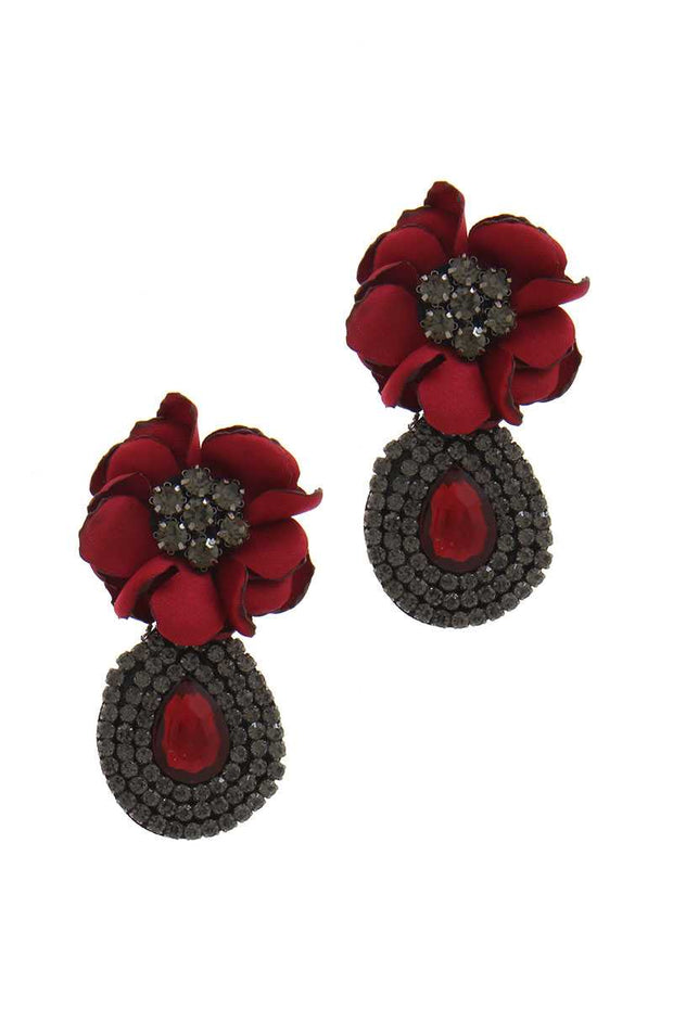 Flower Rhinestone Post Drop Earring - Avantchi.com