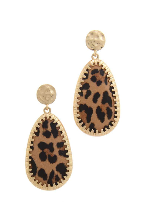 Animal Pattern Teardrop Shape Post Drop Earring - Avantchi.com