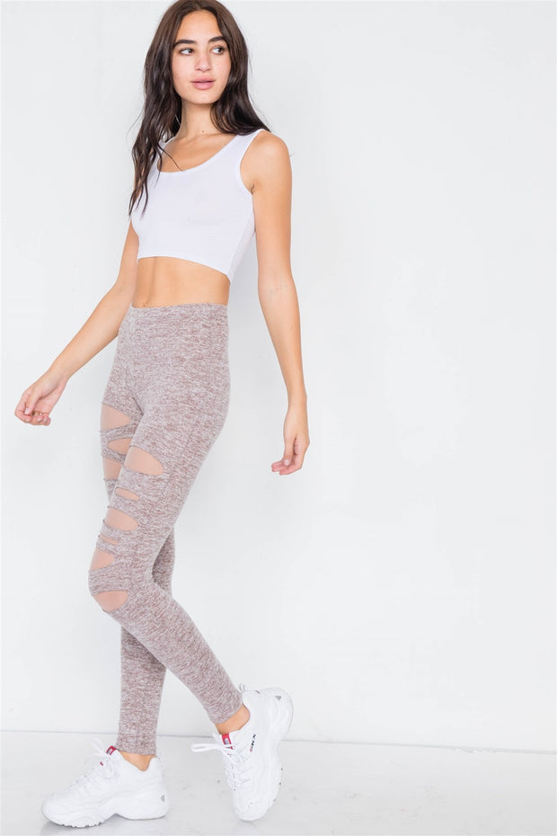 Marled Taupe Sheer Lining Distressed Leggings - Avantchi.com