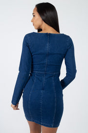 Square Neck Denim Dress - Avantchi.com