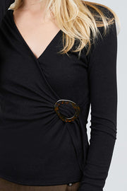 Long Sleeve Deep V-neck Side Buckle Detail Rib Knit Top - Avantchi.com